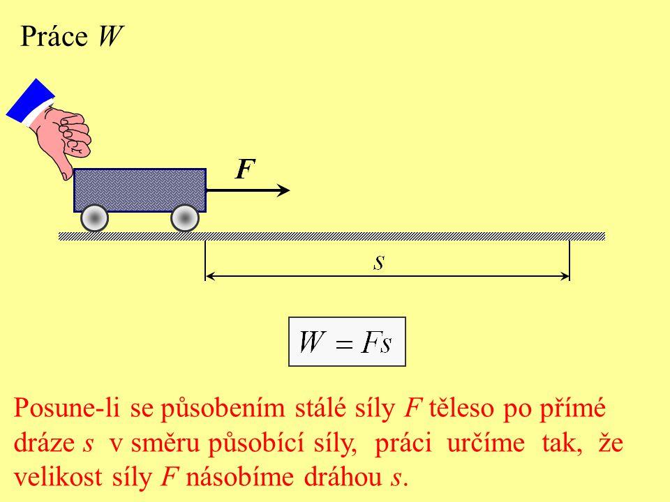 Práce W Posune-li se působením stálé síly F těleso po přímé dráze s v směru působící síly, práci určíme tak, že velikost síly F násobíme dráhou s.