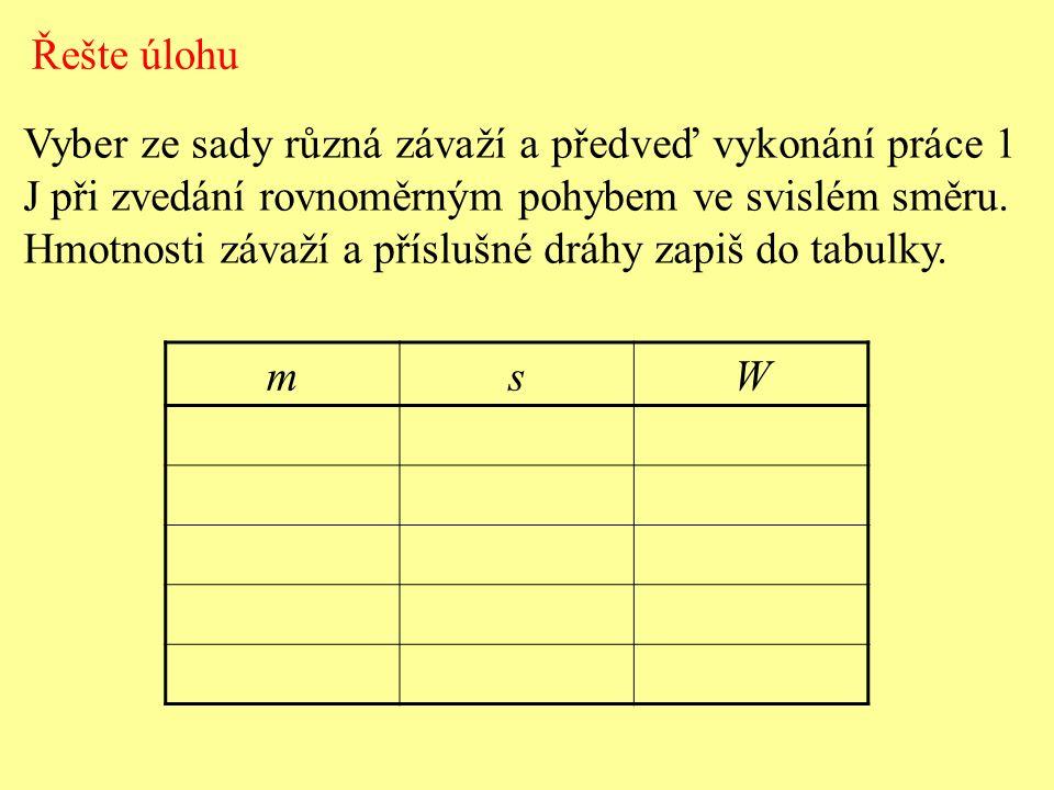 Vyber ze sady různá závaží a předveď vykonání práce 1 J při zvedání rovnoměrným pohybem ve svislém směru. Hmotnosti závaží a příslušné dráhy zapiš do