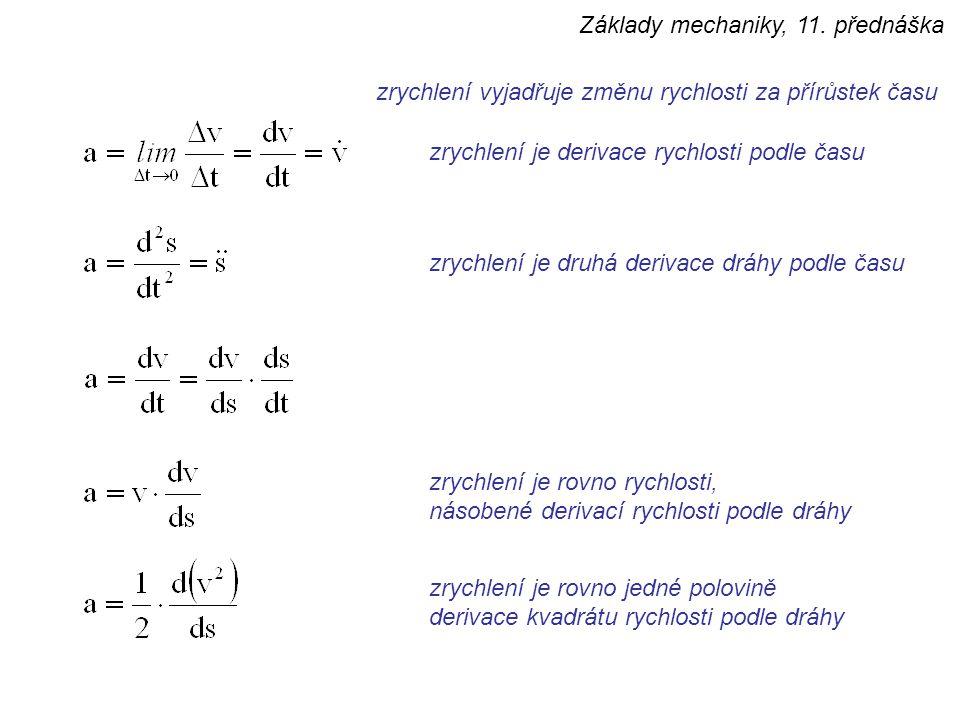zrychlení vyjadřuje změnu rychlosti za přírůstek času zrychlení je derivace rychlosti podle času zrychlení je druhá derivace dráhy podle času zrychlen