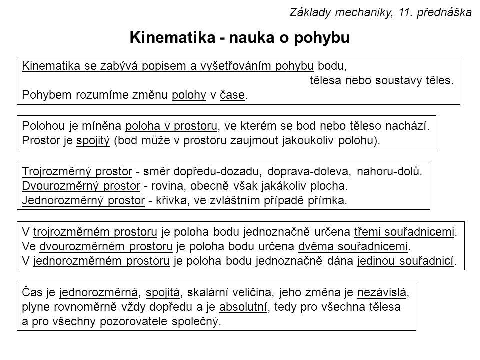 Obsah přednášky : úvod do dynamiky, kinematika bodu, základní kinematické veličiny a vztahy mezi nimi, pohyb rovnoměrný, rovnoměrně zrychlený a nerovnoměrný Základy mechaniky, 11.