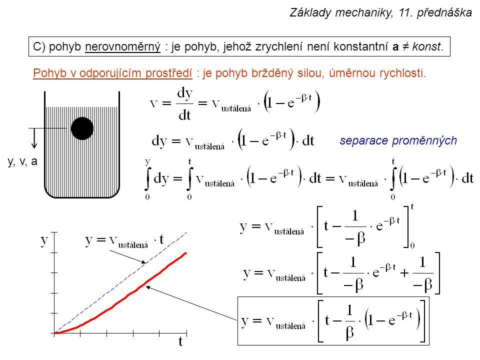 C) pohyb nerovnoměrný : je pohyb, jehož zrychlení není konstantní a ≠ konst. Pohyb v odporujícím prostředí : je pohyb bržděný silou, úměrnou rychlosti