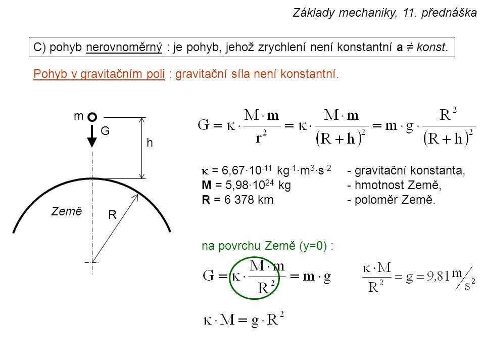 C) pohyb nerovnoměrný : je pohyb, jehož zrychlení není konstantní a ≠ konst.  = 6,67·10 -11 kg -1 ·m 3 ·s -2 - gravitační konstanta, M = 5,98·10 24 k