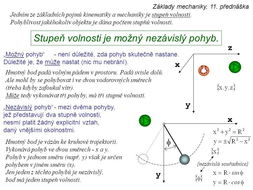 """Jedním ze základních pojmů kinematiky a mechaniky je stupeň volnosti. Pohyblivost jakéhokoliv objektu je dána počtem stupňů volnosti. """"Možný pohyb""""- n"""