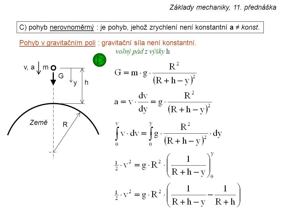 C) pohyb nerovnoměrný : je pohyb, jehož zrychlení není konstantní a ≠ konst. Pohyb v gravitačním poli : gravitační síla není konstantní. G m Země R y
