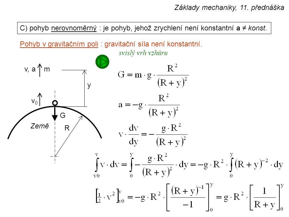 C) pohyb nerovnoměrný : je pohyb, jehož zrychlení není konstantní a ≠ konst. v, a Pohyb v gravitačním poli : gravitační síla není konstantní. G m Země