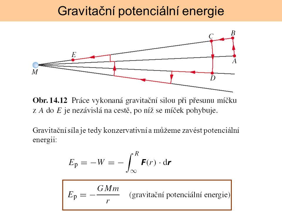 Gravitační síla je tedy konzervativní a můžeme zavést potenciální energii: