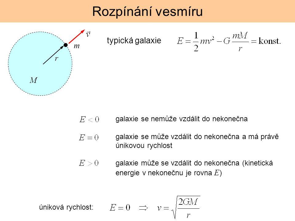 Rozpínání vesmíru typická galaxie M r m galaxie se nemůže vzdálit do nekonečna galaxie se může vzdálit do nekonečna a má právě únikovou rychlost galax