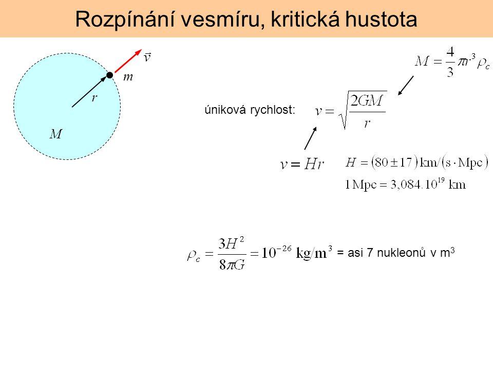 Rozpínání vesmíru, kritická hustota úniková rychlost: M r m = asi 7 nukleonů v m 3