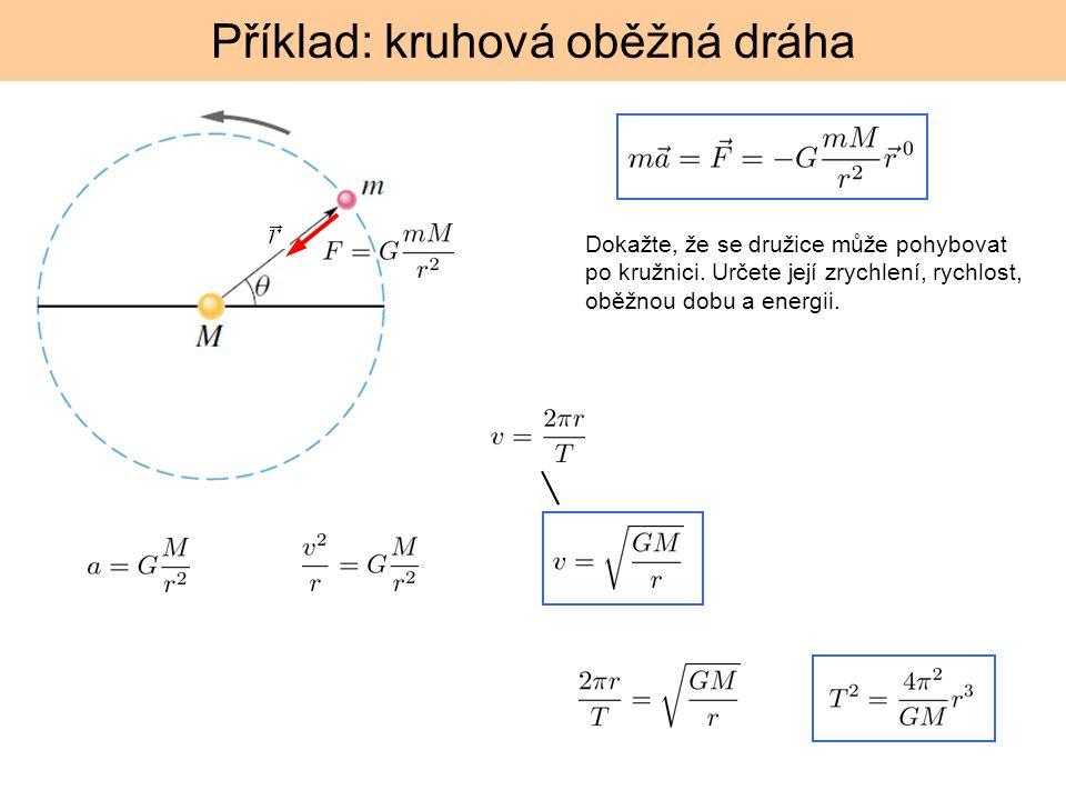 Příklad: kruhová oběžná dráha Dokažte, že se družice může pohybovat po kružnici. Určete její zrychlení, rychlost, oběžnou dobu a energii.