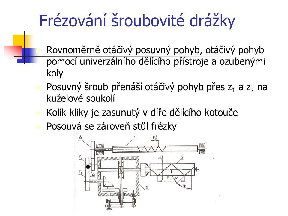 Dělící přístroj Převod = charakteristika dělícího přístroje x stoupání posuvného šroubu/stoupání vyráběné šroubovice Převod =