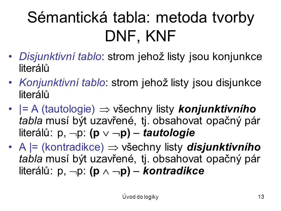 Úvod do logiky13 Sémantická tabla: metoda tvorby DNF, KNF Disjunktivní tablo: strom jehož listy jsou konjunkce literálů Konjunktivní tablo: strom jeho