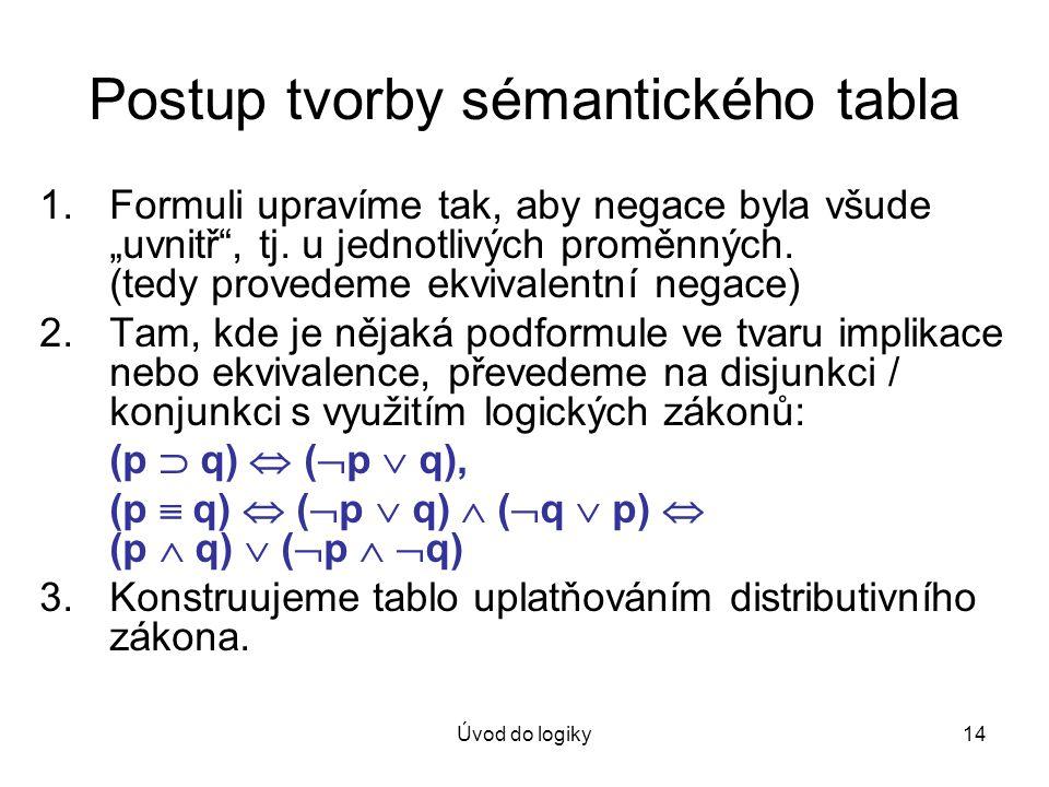 """Úvod do logiky14 Postup tvorby sémantického tabla 1.Formuli upravíme tak, aby negace byla všude """"uvnitř"""", tj. u jednotlivých proměnných. (tedy provede"""