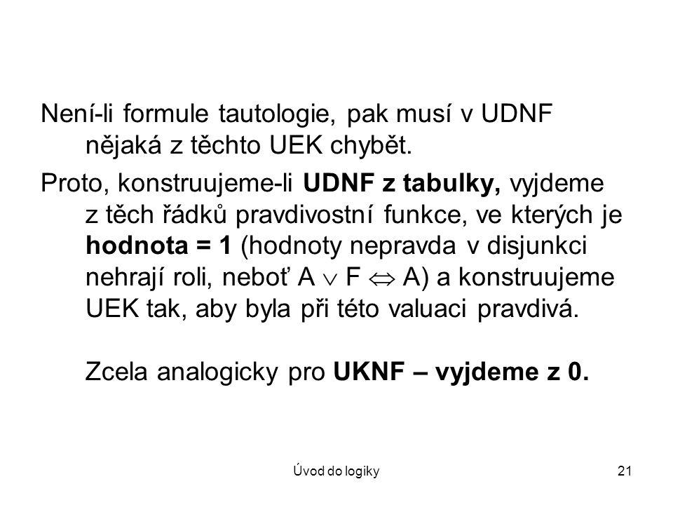 Úvod do logiky21 Není-li formule tautologie, pak musí v UDNF nějaká z těchto UEK chybět. Proto, konstruujeme-li UDNF z tabulky, vyjdeme z těch řádků p