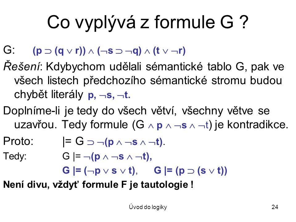 Úvod do logiky24 Co vyplývá z formule G ? G: (p  (q  r))  (  s   q)  (t   r) Řešení: Kdybychom udělali sémantické tablo G, pak ve všech liste