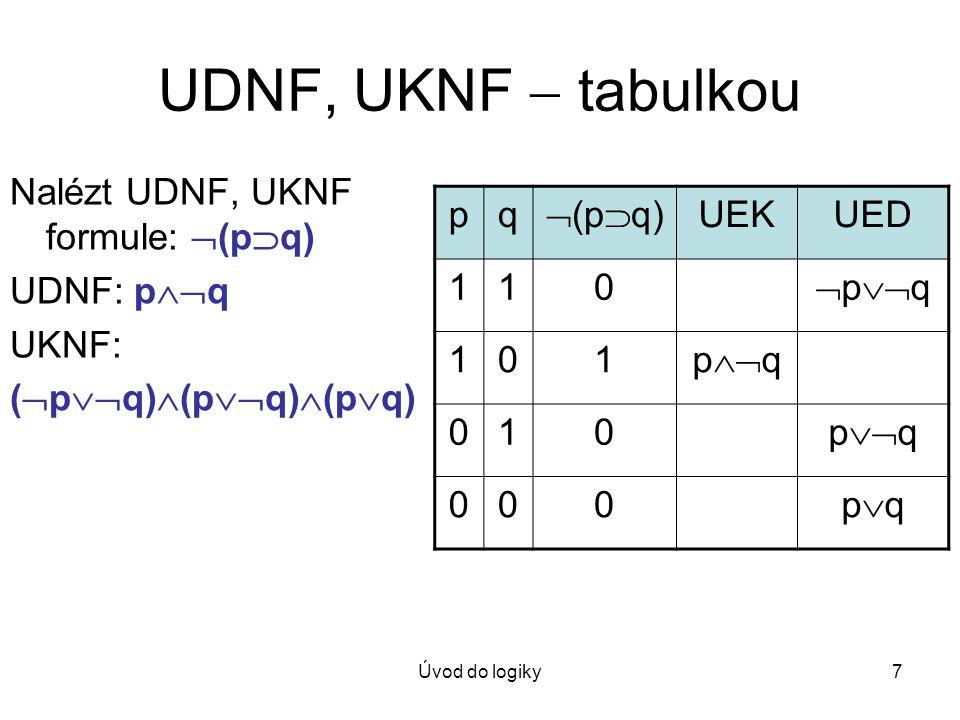 Úvod do logiky7 UDNF, UKNF  tabulkou Nalézt UDNF, UKNF formule:  (p  q) UDNF: p  q UKNF: (  p  q)  (p  q)  (p  q) pq  (p  q) UEKUED 110