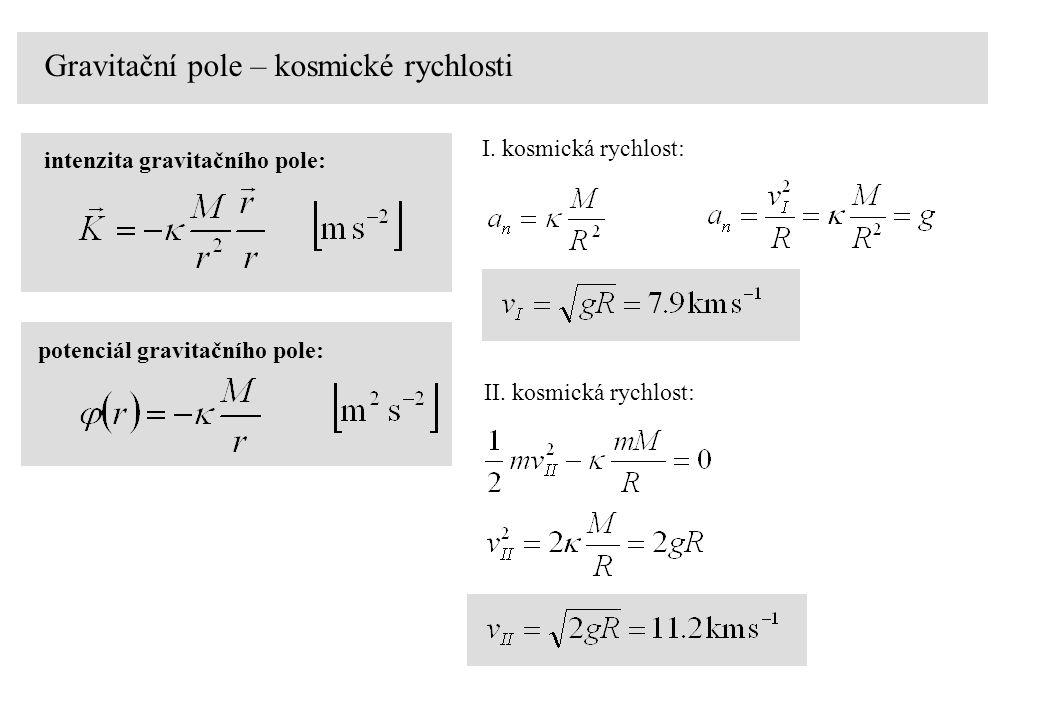 Gravitační pole – kosmické rychlosti intenzita gravitačního pole: potenciál gravitačního pole: I.