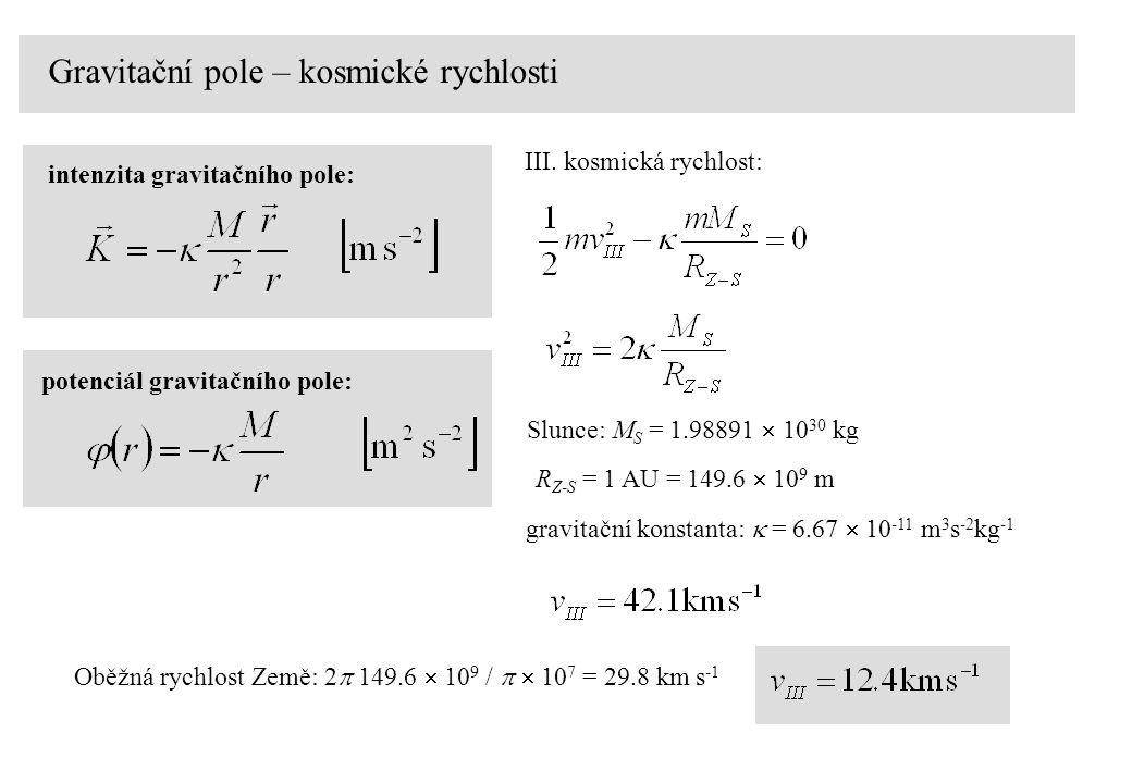 Gravitační pole – kosmické rychlosti intenzita gravitačního pole: potenciál gravitačního pole: III.