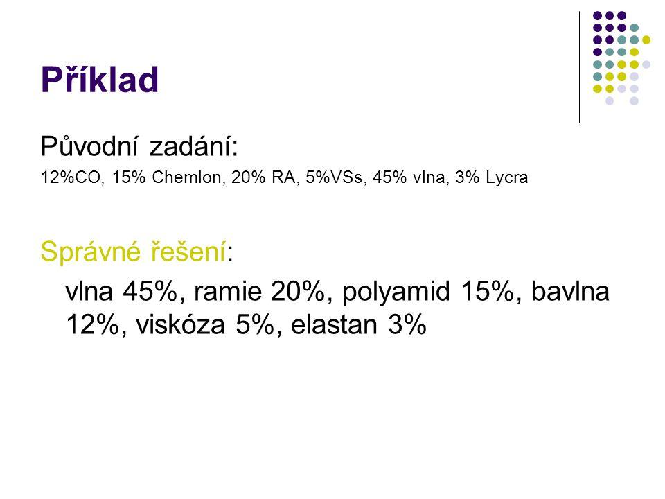 Praktický příklad Tkanina dodaná zahraničním výrobcem je označena takto: 12%CO, 15% Chemlon, 20% RA, 5%VSs, 45% vlna, 3% Lycra Jak správně označit pro