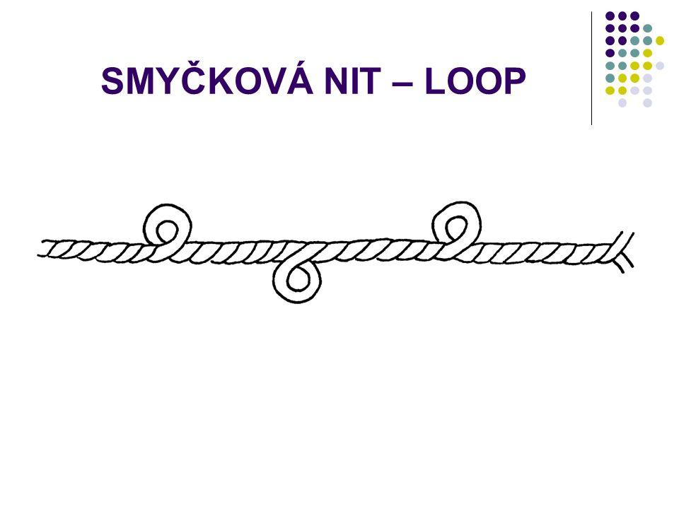 SMYČKOVÁ NIT – FROTÉ na povrchu jsou ve více či méně pravidelných intervalech rozmístěny smyčky. Smyčky se tvoří tím, že k základní niti je přiskávána