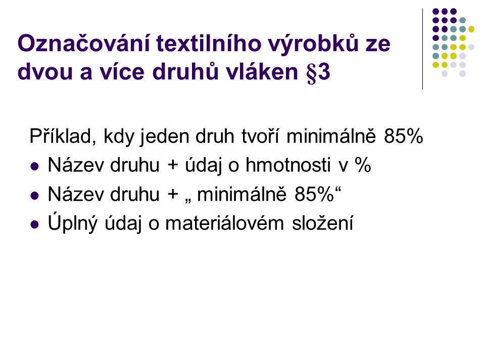 Praktický příklad Tkanina dodaná zahraničním výrobcem je označena takto: 12%CO, 15% Chemlon, 20% RA, 5%VSs, 45% vlna, 3% Lycra Jak správně označit pro budoucího spotřebitele?
