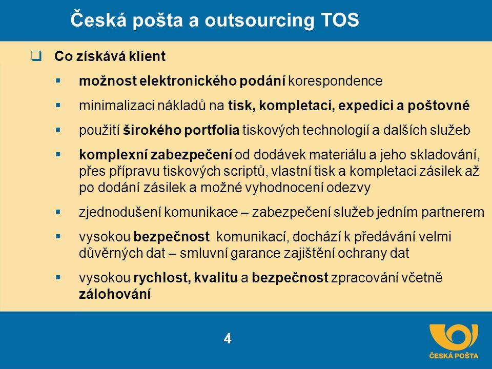 Česká pošta a outsourcing TOS 4  Co získává klient  možnost elektronického podání korespondence  minimalizaci nákladů na tisk, kompletaci, expedici a poštovné  použití širokého portfolia tiskových technologií a dalších služeb  komplexní zabezpečení od dodávek materiálu a jeho skladování, přes přípravu tiskových scriptů, vlastní tisk a kompletaci zásilek až po dodání zásilek a možné vyhodnocení odezvy  zjednodušení komunikace – zabezpečení služeb jedním partnerem  vysokou bezpečnost komunikací, dochází k předávání velmi důvěrných dat – smluvní garance zajištění ochrany dat  vysokou rychlost, kvalitu a bezpečnost zpracování včetně zálohování