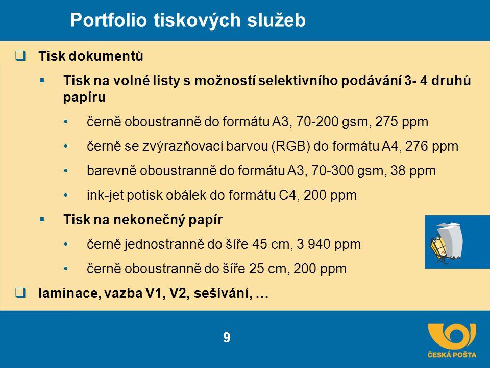 Portfolio tiskových služeb  Tisk dokumentů  Tisk na volné listy s možností selektivního podávání 3- 4 druhů papíru černě oboustranně do formátu A3, 70-200 gsm, 275 ppm černě se zvýrazňovací barvou (RGB) do formátu A4, 276 ppm barevně oboustranně do formátu A3, 70-300 gsm, 38 ppm ink-jet potisk obálek do formátu C4, 200 ppm  Tisk na nekonečný papír černě jednostranně do šíře 45 cm, 3 940 ppm černě oboustranně do šíře 25 cm, 200 ppm  laminace, vazba V1, V2, sešívání, … 9