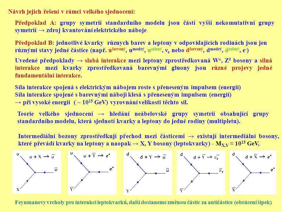 Návrh jejich řešení v rámci velkého sjednocení: Předpoklad A: grupy symetrií standardního modelu jsou částí vyšší nekomutativní grupy symetrií → zdroj kvantování elektrického náboje Předpoklad B: jednotlivé kvarky různych barev a leptony v odpovídajících rodinách jsou jen různými stavy jedné částice (např.