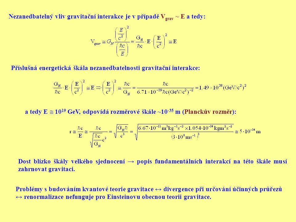 Nezanedbatelný vliv gravitační interakce je v případě V grav ~ E a tedy: Příslušná energetická škála nezanedbatelnosti gravitační interakce: a tedy E  10 19 GeV, odpovídá rozměrové škále ~10 -35 m (Planckův rozměr): Dost blízko škály velkého sjednocení → popis fundamentálních interakcí na této škále musí zahrnovat gravitaci.