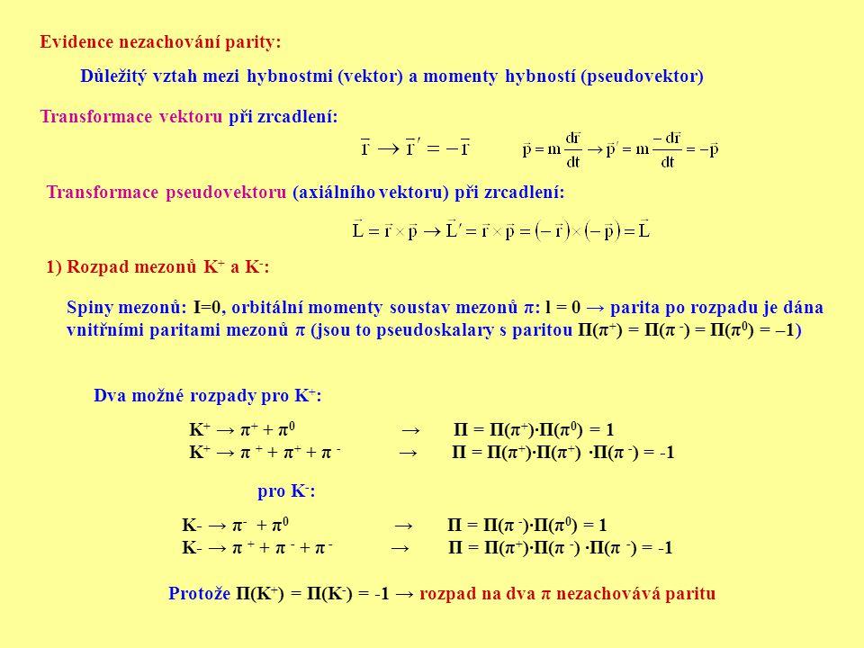 Transformace vektoru při zrcadlení: Transformace pseudovektoru (axiálního vektoru) při zrcadlení: 1) Rozpad mezonů K + a K - : Spiny mezonů: I=0, orbitální momenty soustav mezonů π: l = 0 → parita po rozpadu je dána vnitřními paritami mezonů π (jsou to pseudoskalary s paritou П(π + ) = П(π - ) = П(π 0 ) = –1) Dva možné rozpady pro K + : K + → π + + π 0 → П = П(π + )∙П(π 0 ) = 1 K + → π + + π + + π - → П = П(π + )∙П(π + ) ∙П(π - ) = -1 pro K - : K- → π - + π 0 → П = П(π - )∙П(π 0 ) = 1 K- → π + + π - + π - → П = П(π + )∙П(π - ) ∙П(π - ) = -1 Protože П(K + ) = П(K - ) = -1 → rozpad na dva π nezachovává paritu Důležitý vztah mezi hybnostmi (vektor) a momenty hybností (pseudovektor) Evidence nezachování parity: