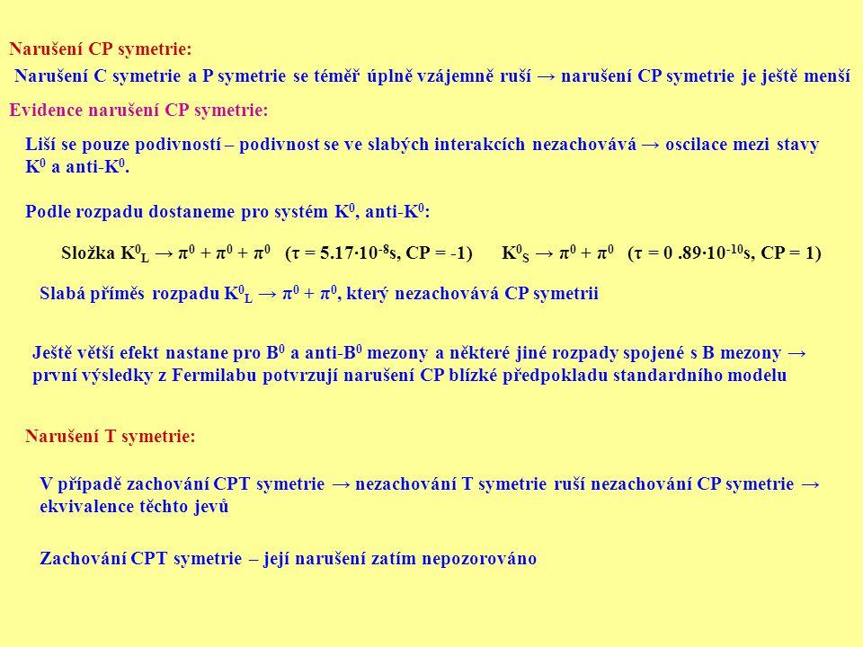 Narušení CP symetrie: Narušení C symetrie a P symetrie se téměř úplně vzájemně ruší → narušení CP symetrie je ještě menší Evidence narušení CP symetrie: Liší se pouze podivností – podivnost se ve slabých interakcích nezachovává → oscilace mezi stavy K 0 a anti-K 0.