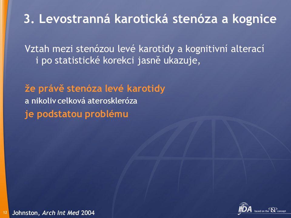 12 Vztah mezi stenózou levé karotidy a kognitivní alterací i po statistické korekci jasně ukazuje, že právě stenóza levé karotidy a nikoliv celková ateroskleróza je podstatou problému Johnston, Arch Int Med 2004 3.