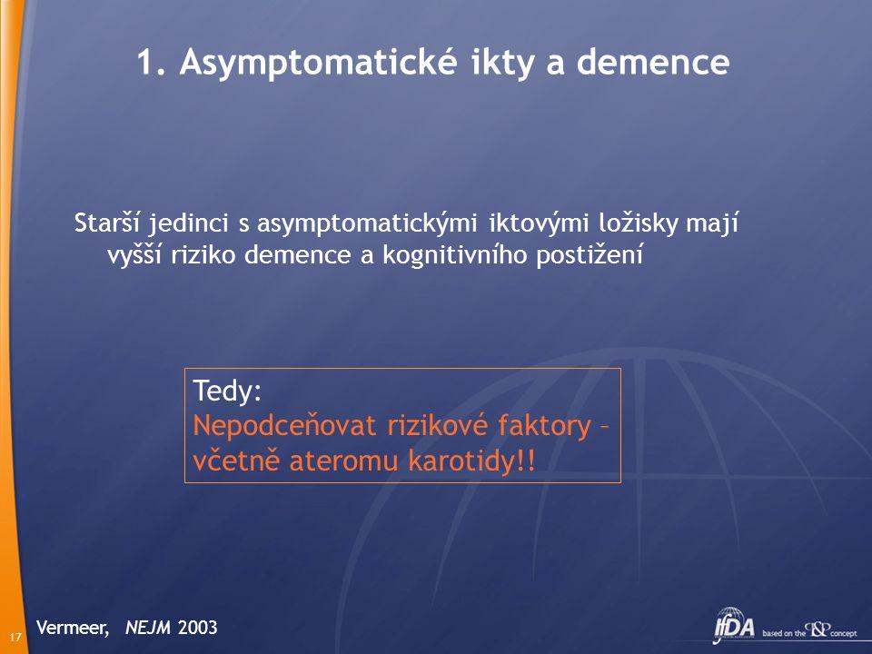17 Starší jedinci s asymptomatickými iktovými ložisky mají vyšší riziko demence a kognitivního postižení Vermeer, NEJM 2003 1.