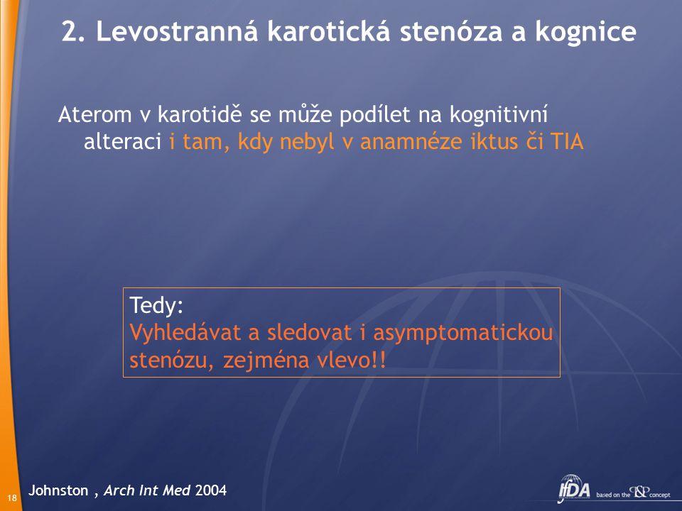 18 Johnston, Arch Int Med 2004 Aterom v karotidě se může podílet na kognitivní alteraci i tam, kdy nebyl v anamnéze iktus či TIA 2.