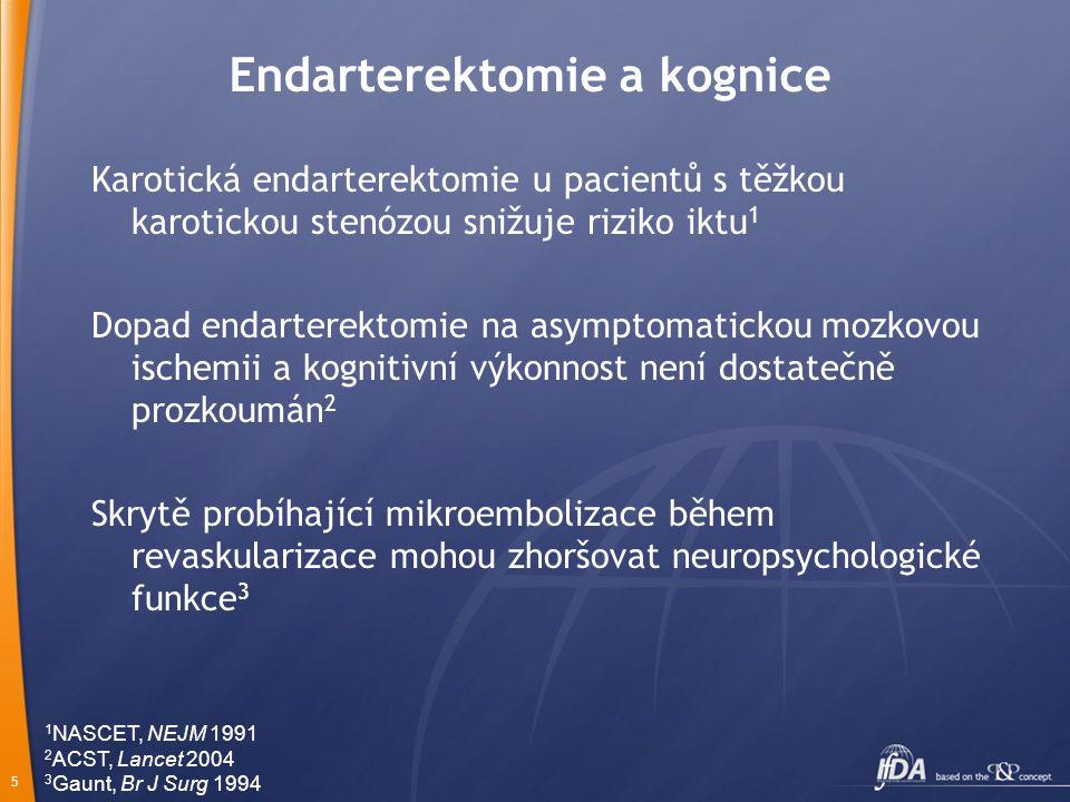 5 Endarterektomie a kognice Karotická endarterektomie u pacientů s těžkou karotickou stenózou snižuje riziko iktu 1 Dopad endarterektomie na asymptomatickou mozkovou ischemii a kognitivní výkonnost není dostatečně prozkoumán 2 Skrytě probíhající mikroembolizace během revaskularizace mohou zhoršovat neuropsychologické funkce 3 1 NASCET, NEJM 1991 2 ACST, Lancet 2004 3 Gaunt, Br J Surg 1994