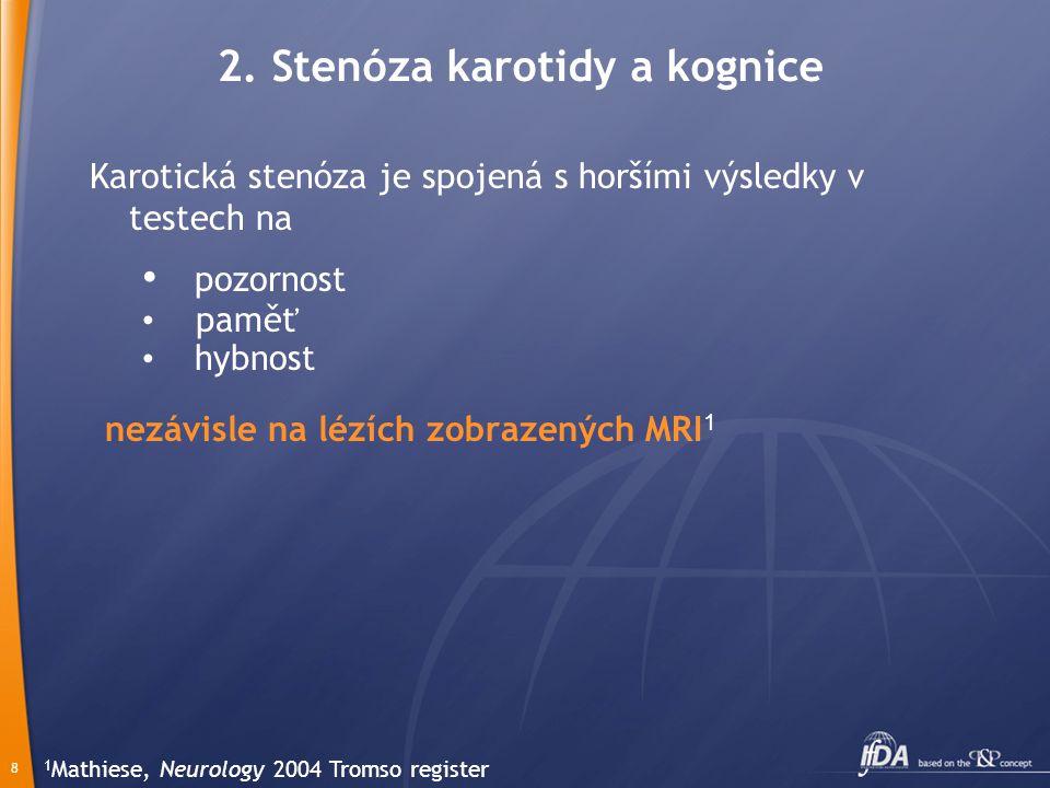 8 2. Stenóza karotidy a kognice Karotická stenóza je spojená s horšími výsledky v testech na pozornost paměť hybnost nezávisle na lézích zobrazených M