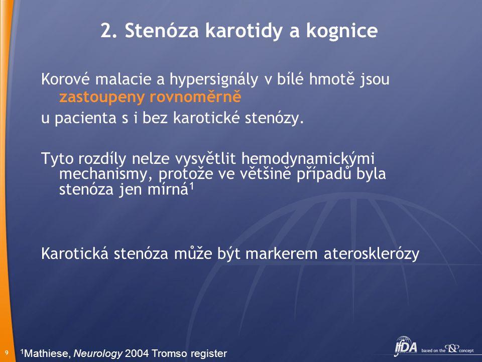 9 2. Stenóza karotidy a kognice Korové malacie a hypersignály v bílé hmotě jsou zastoupeny rovnoměrně u pacienta s i bez karotické stenózy. Tyto rozdí