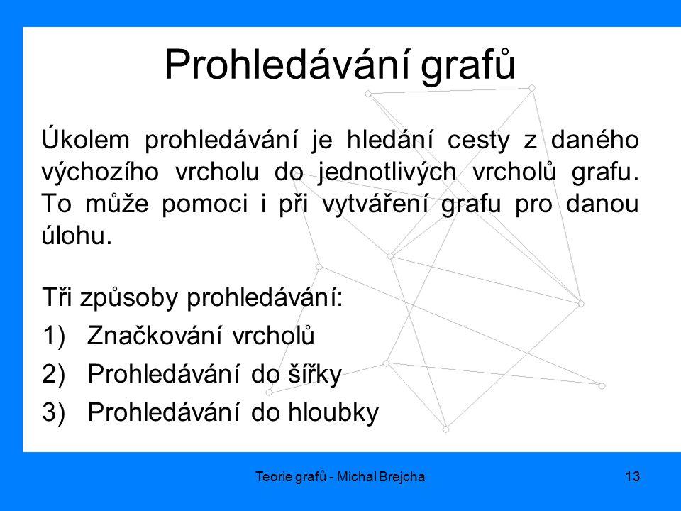 Teorie grafů - Michal Brejcha13 Prohledávání grafů Úkolem prohledávání je hledání cesty z daného výchozího vrcholu do jednotlivých vrcholů grafu. To m