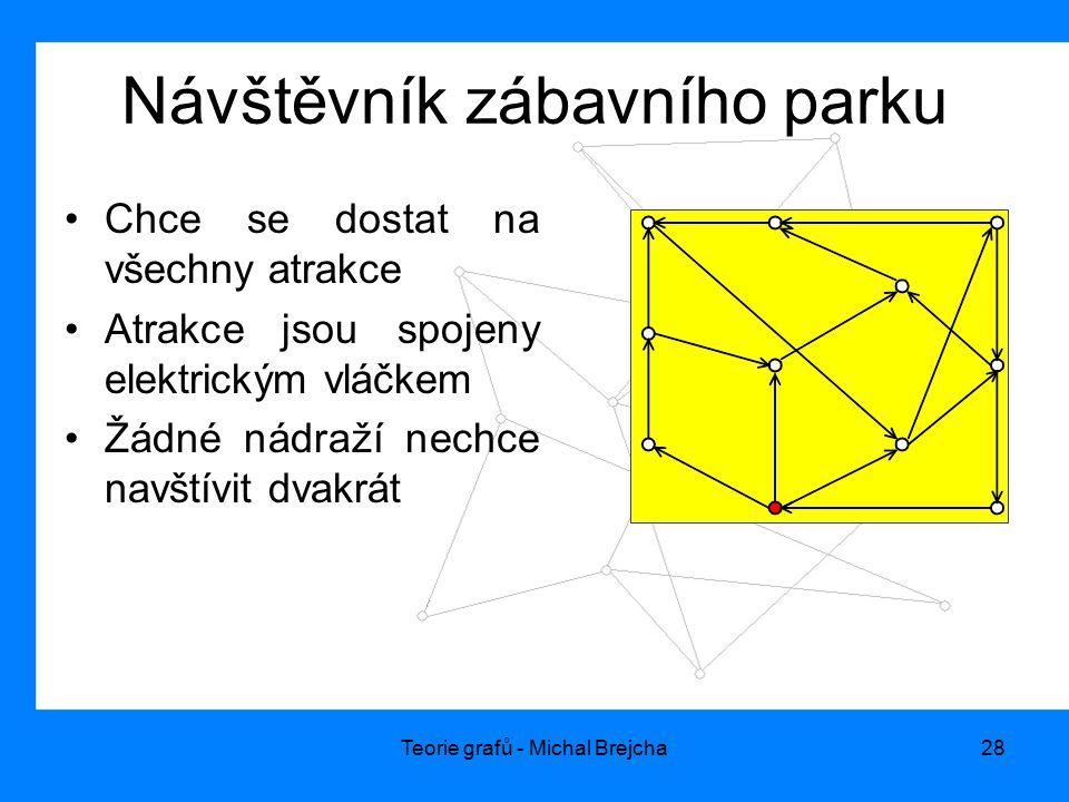 Teorie grafů - Michal Brejcha28 Návštěvník zábavního parku Chce se dostat na všechny atrakce Atrakce jsou spojeny elektrickým vláčkem Žádné nádraží ne