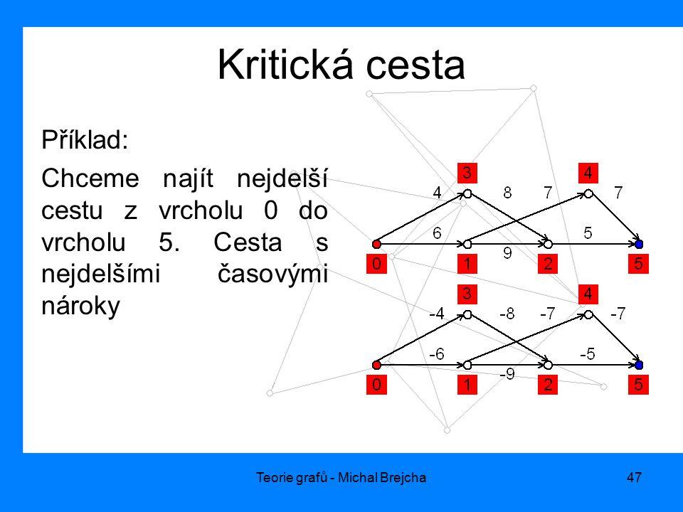 Teorie grafů - Michal Brejcha47 Kritická cesta Příklad: Chceme najít nejdelší cestu z vrcholu 0 do vrcholu 5. Cesta s nejdelšími časovými nároky