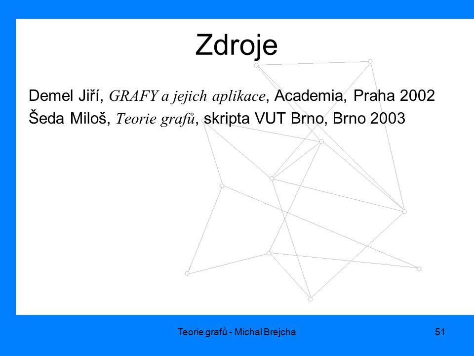 Teorie grafů - Michal Brejcha51 Zdroje Demel Jiří, GRAFY a jejich aplikace, Academia, Praha 2002 Šeda Miloš, Teorie grafů, skripta VUT Brno, Brno 2003