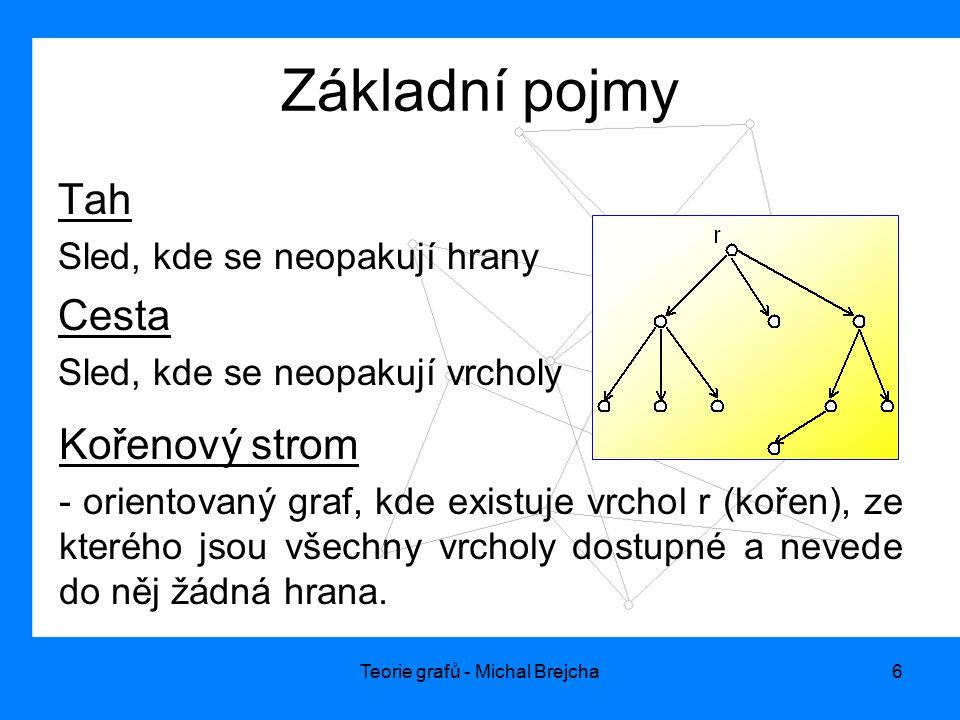 Teorie grafů - Michal Brejcha6 Základní pojmy Tah Sled, kde se neopakují hrany Cesta Sled, kde se neopakují vrcholy Kořenový strom - orientovaný graf,