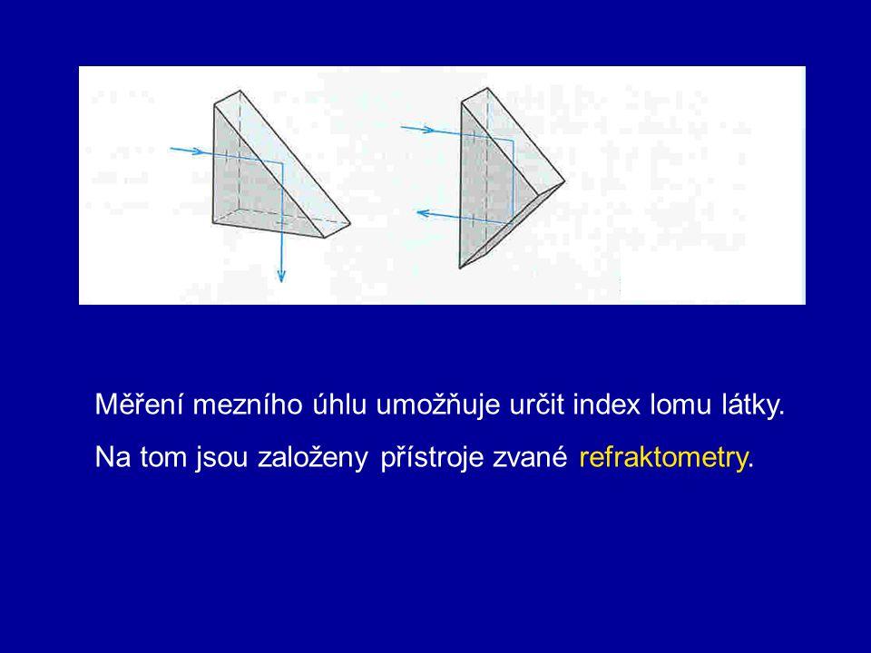 4. Úplný odraz – totální reflexe Přechází-li světlo z prostředí opticky hustšího do prostředí opticky řidšího, nastává lom od kolmice. Zde může nastat