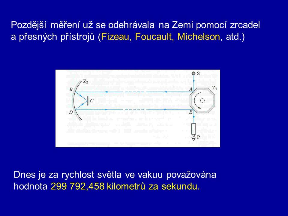 Nejdříve byla rychlost světla považována za nekonečnou, protože prostor je osvětlen z lidského pohledu okamžitě. O. Römer roku 1675 z pozorování zákry