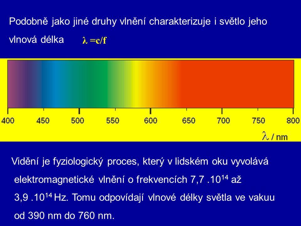3. chromatické: složené ze světla více vlnových délek, např. bílé světlo (složené ze sedmi barev) Světelné spektrum je část elektromagnetického spektr