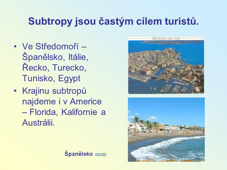 Subtropy jsou častým cílem turistů. Ve Středomoří – Španělsko, Itálie, Řecko, Turecko, Tunisko, Egypt Krajinu subtropů najdeme i v Americe – Florida,