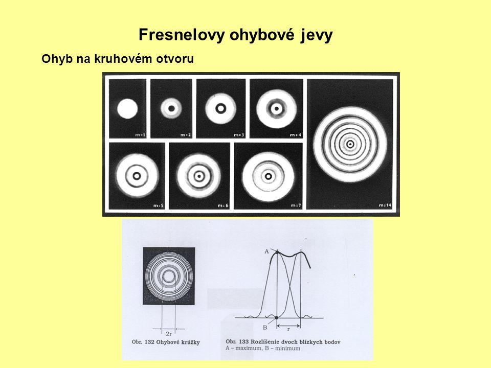 Fresnelovy ohybové jevy Ohyb na kruhovém otvoru
