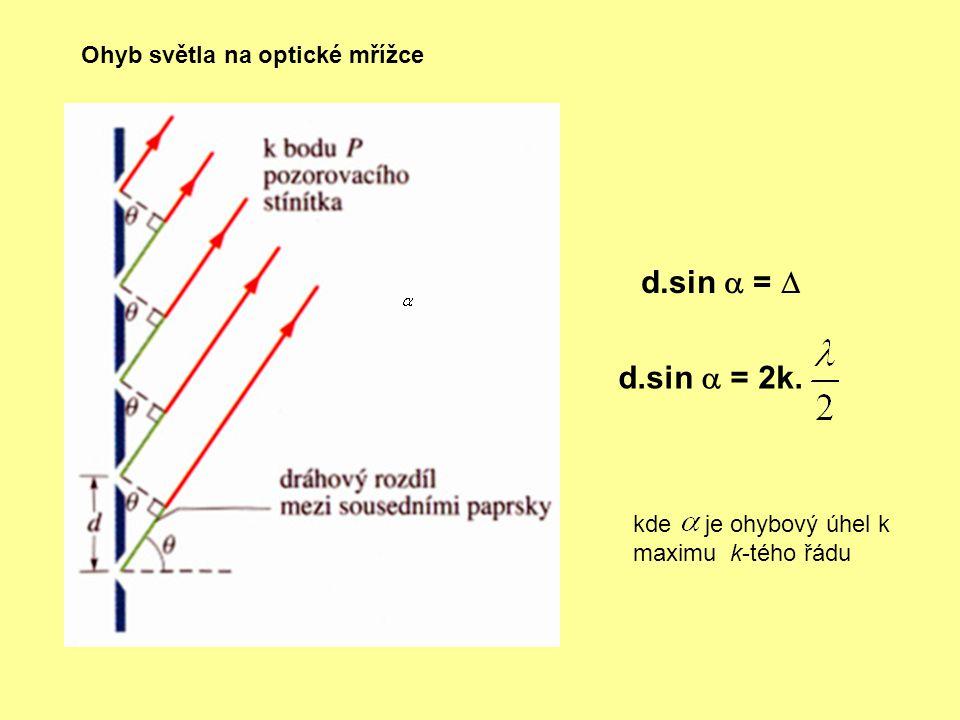Ohyb světla na optické mřížce d.sin  =  d.sin  = 2k. kde je ohybový úhel k maximu k-tého řádu