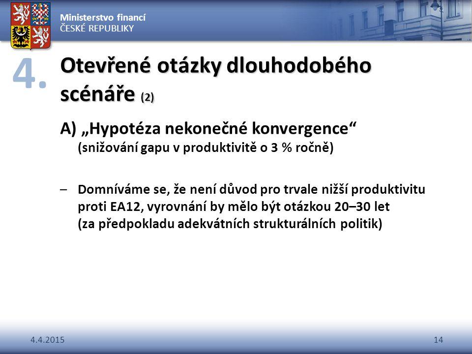 """Ministerstvo financí ČESKÉ REPUBLIKY 4.4.201514 Otevřené otázky dlouhodobého scénáře (2) A) """"Hypotéza nekonečné konvergence"""" (snižování gapu v produkt"""