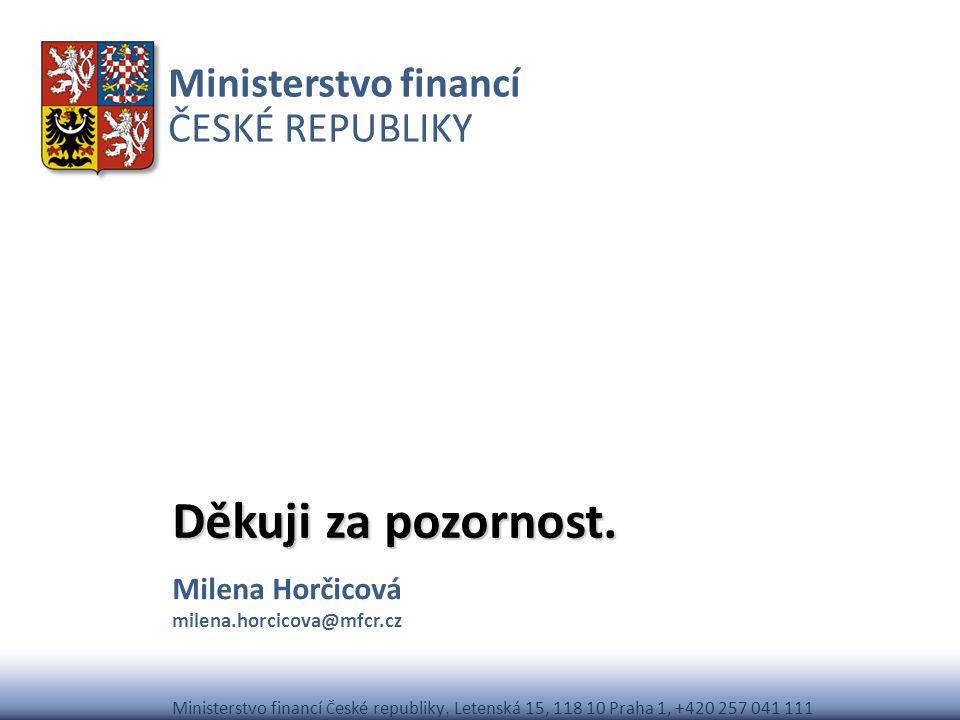 Ministerstvo financí ČESKÉ REPUBLIKY Ministerstvo financí Č eské republiky, Letenská 15, 118 10 Praha 1, +420 257 041 111 Děkuji za pozornost. Milena