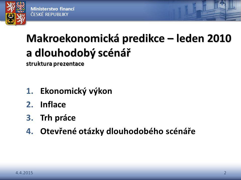 Ministerstvo financí ČESKÉ REPUBLIKY 4.4.20152 Makroekonomická predikce – leden 2010 a dlouhodobý scénář struktura prezentace 1.Ekonomický výkon 2.Inf